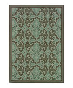 Love this Blue Traditional Jamaica Indoor/Outdoor Rug on #zulily! #zulilyfinds  Green color goes with my chippy wood patio furniture