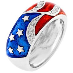 Silver US American Flag Ring Band Patriotic July 4th Rhodium Plated USA Seller #Unbranded #Band