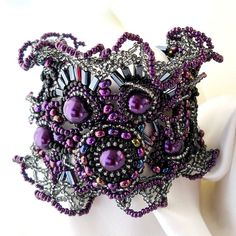 Freeform freestyle Beaded Cuff Bracelet Purple lilac black silver, Unique gift Ooak jewelry
