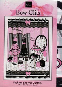 "Home Wear Bow Glitz Shower Curtain Girl's Fashion 72"" x 72"" Pink Black White New #HomeWear #Novelty"