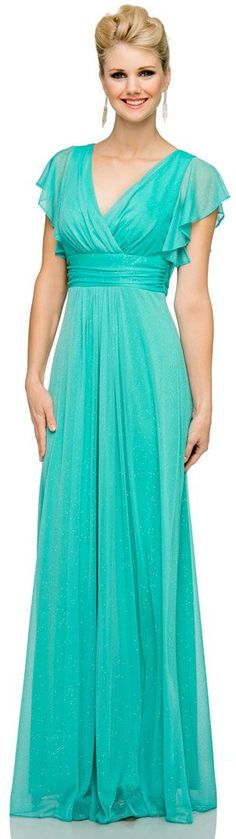 Glittered V-Neck Long Formal Dress with Flutter Sleeves