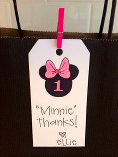 Minnie Mouse Birthday Gift Tag  Thank you Card Tag  by Thesiskiss, $2.25