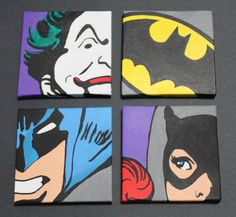 For my movie room :) Classic Batman Set of 4 12x12 Wall Art by ArtofaSilentBee on Etsy, $130.00