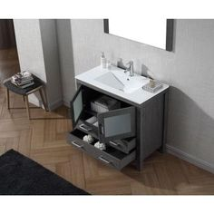 Virtu USA Dior 36 in. W x 18.3 in. D x 33.48 in. H White Vanity With Ceramic Vanity Top With White Square Basin and Mirror-KS-70036-C-WH - The Home Depot
