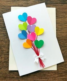 Mothers Day Crafts For Kids Discover Birthday Card / Hearts Wedding Cards / Rainbow Birthday / Blank Valentine Card / Note Card Birthday Card /Rainbow Hearts Handmade Wedding Cards / Blank Kids Crafts, Mothers Day Crafts For Kids, Mothers Day Cards, Yarn Crafts, Etsy Crafts, Craft Projects, Summer Crafts, Mothers Day Diy Gifts, Decor Crafts