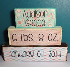 Personalized Baby Name Stacker Wood Block Set - Baby Girl Stat Set - Name Weight Date of Birth Baby Shower Gift  Nursery Decor Gift -New Mom...