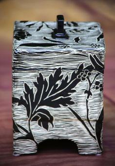 Handcarved Pottery Box Wedding Gift Black by Gypsysistersstudio