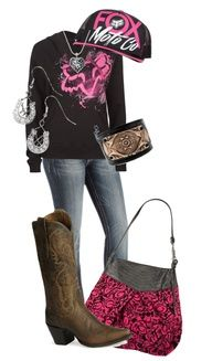 Fox Racing Outfit #CountryGirl #CowboyBoots