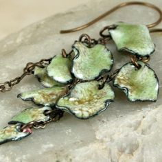 Mossy Woodland Leaves Copper Enamel Earrings Dangling Autumn. $52.00, via Etsy.