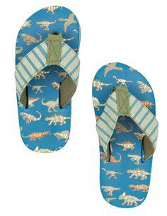 e86b82f590e Little Blue House By Hatley Kids Flip Flops - Blue Dinos