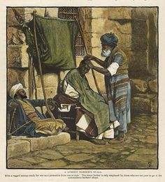 """A Street Barber's Stall"" (Damascus) wood engraved antique print, published in Picturesque Palestine, about Recent hand colouring, text on the reverse. Barber Shop Decor, Antique Prints, Damascus, Hand Coloring, Syria, Love Art, Old Houses, Middle East, Black And White"