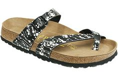 Papillio Tabora Soft Footbed Pearl Black/White Birko-Flor If your feet tend to be sensitive, this style will give you comfort right out of the box. Made with and extra layer of foam in the footbed, it cushions your feet, and the contoured cork footbed provides wonderful arch support. Resoleable. #birkenstock #birkenstockexpress.com  $109