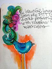 Pitt pens and watercolor - Joanne Sharpe
