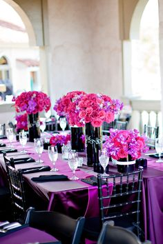 purple pink black table setting decorating