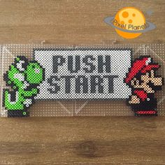 Push Start - Mario perler beads by pixel_planet_ Mais