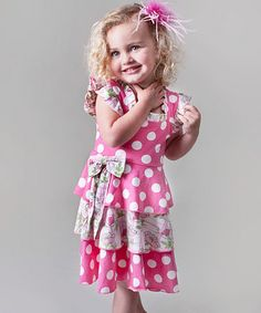 Take a look at this Pink Polka Dot Tiered Dress - Infant, Toddler & Girls  by Saru on #zulily today!