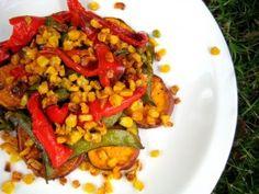 I've never roasted corn niblets before, this looks soo good! // Roasted Veggie Salad