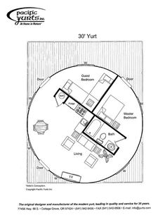 The yurt floor plans are a unique idea for a dwelling because it has different shape from the usual house. The Plan, How To Plan, Small House Plans, House Floor Plans, Yurt Living, Tiny Living, Living Room, Yurt Home, Pacific Yurts