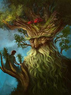 Treebeard Ent by Fantasy Forest, Fantasy World, Fantasy Art, Forest Art, Fantasy Creatures, Mythical Creatures, Tolkien, Green Man, Tree Art