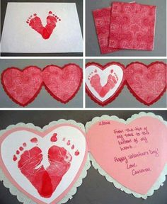 baby crafts Baby Footprints Heart Card Project - perfect for Valentines Day Toddler Valentine Crafts, Kinder Valentines, Baby Crafts, Valentines Diy, Valentines Ideas For Babies, First Valentines Day Baby, Valentine Hearts, Daycare Crafts, Preschool Crafts