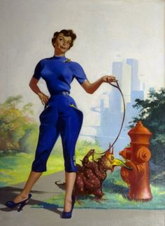 HAROLD W. McCAULEY - art for 21st Century Girl Walking Pet - Dec 1954 Imagination - Stories of Science and Fantasy