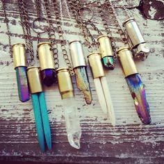 SHINE /  Crystal Bullet Necklace - Raw Rainbow Titanium Druzy Quartz Crystal Point Gemstone Bullet Necklace Extra Long - You Choose. $28.00, via Etsy.