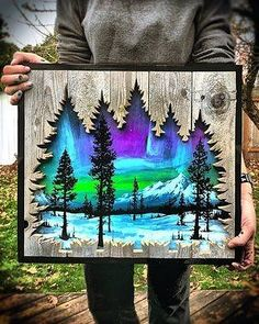 Inspiration for card using tree cutouts for negative space on wood grain paper wood art - wood art p Wood Burning Crafts, Wood Burning Art, Wood Crafts, Diy Wood, Wood Wood, Pallet Art, Art Mural, Wood Wall Art, Art On Wood