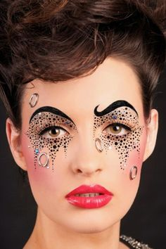 Love this crazy look.  Almost like circus makeup.- I need another face that I could do my work on a consistent basis, I get so tired of my own face! Lol! it's true!!