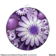Falling in Love Abstract Flowers & Hearts Fractal Dartboard With Darts