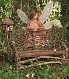 Twig Bench for Fairy Gazing in the Garden
