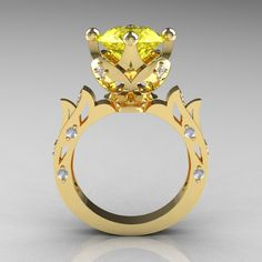 Modern Antique 14K Yellow Gold 3.0 Carat Yellow Topaz Diamond Solitaire Wedding Ring R214-14KYGDYT by artmasters on Etsy https://www.etsy.com/listing/114888609/modern-antique-14k-yellow-gold-30-carat