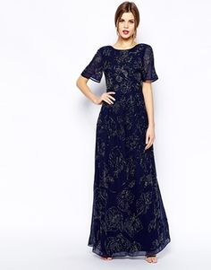 Image 4 of ASOS Premium Maxi Dress With All Over Floral Embellishment