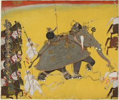 Elephant in Battle, Kota, Rajasthan, India. War Elephant, Indian Elephant, Indiana, Elephant Images, Elephant Drawings, Mughal Paintings, Mughal Empire, Medieval Art, African Art