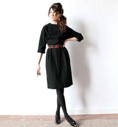50s Black Wool Wiggle Dress chic fitted от factoryhandbook на Etsy