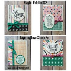 Simple cards made using Stampin' Up! LAYERING LOVE and PLAYFUL PALETTE DSP. All the details are on the blog! Created by Jackie Bolhuis, Stampin' Up! Demonstrator. 100's of StampinUp card ideas on blog.