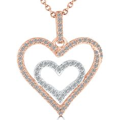 73632949f46c 0.35 Carat F-SI Diamond Double Heart Pendant Necklace in 14k White   Rose  Gold