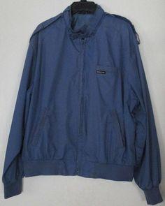 vintage #80s slate blue members only cafe racer bomber jacket mens l large lined from $40.0