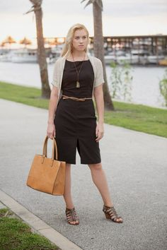 black brown combo, work outfit, Express dress,  Mossimo cardigan, brown leather tote, snakeskin sandals, braided belt, http://www.kslookbook.com/2014/07/coincidence.html