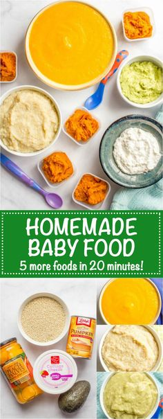 Homemade baby food -- 5 easy, beginner foods ready in just 20 minutes! How to make quinoa, peaches, avocado, pumpkin and cottage cheese purees!   www.familyfoodonthetable
