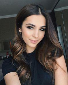 Dark Brown Hair with Balayage Highlights