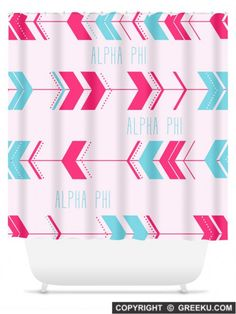 Sorority Arrow Pattern Pink Blue Shower Curtain | Free Shipping. Order for your sorority (shown in Alpha Phi)! ** Also comes in other designs. Shop now! http://www.greeku.com/sorority/merchandise/home-decor/shower-curtains/arrow-pattern-pink-blue-shower-curtain/