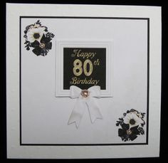Black &amp White 80th Birthday Card by Irene Woods