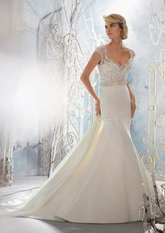 Ageless A line Elastic Satin Queen Anne Empire Waist Floor Length Wedding Dress