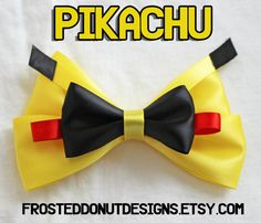 Pikachu Pokemon inspired Bow by FrostedDonutDesigns on Etsy, $9.25