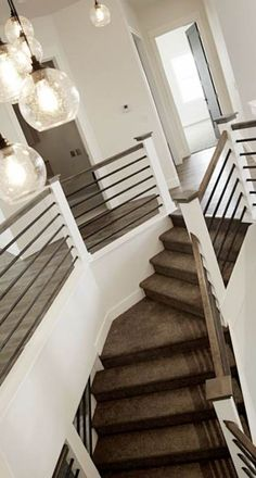 Looking for Modern Stair Railing Ideas? Check out our photo gallery of Modern Stair Railing Ideas Here.Modern Stair Railing - This sleek modern stair part is one of the recovered simple inside stair railings accessible.A Startling Fact about Stair Railing Cable Stair Railing, Staircase Railings, Staircase Design, Banisters, Staircases, Loft Railing, Stair Design, Loft Stairs, Railing Design