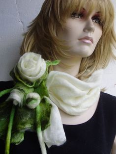SALE Nuno Felted Soft Elegant Natural white Olive green Scarf with Rose Flowers Necklace