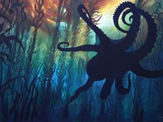 Kelp forest octopus underwater painting with seaweed … Octopus Painting, Underwater Painting, Octopus Art, Painting & Drawing, Kelp Forest, Forest Art, Forest Painting, Fantasy Kunst, Fantasy Art