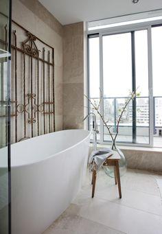 West End Penthouse West End, Interior Design Services, Clawfoot Bathtub, Powder Room, Service Design, Stylish, Powder Rooms, Toilet, Toilets