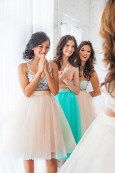 Super cute bridesmaid skirts instead of dresses. Each girl picks out their own blouse. These actually can be worn again! And much less expensive! hmmm