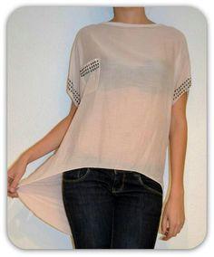 Blusa asimétrica tachuelas rosa palo- www.facebook.com/oliviahudsonmoda